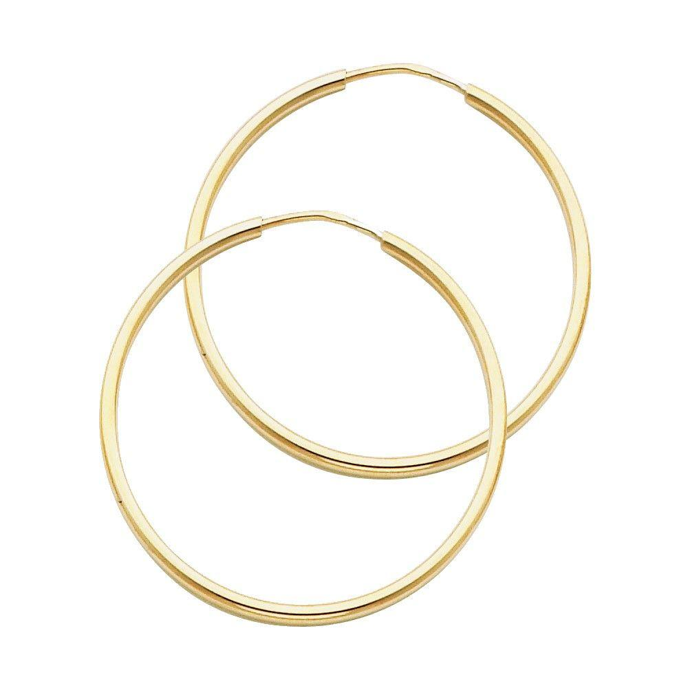 14KT YELLOW GOLD 1.5MM HOOP EARRINGS 30mm