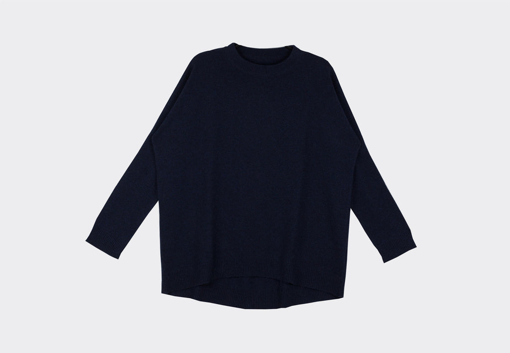 Sphere One Lucy Downes Front Inkwell Cashmere Sweater 2 Ply Scottish Oversized Irish Designer Luxury Tactile Lightweight Warmth Ireland Premium Best