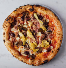 Load image into Gallery viewer, Capricciosa -  San Marzano tomato, fior di latte, ham, black olives, mushrooms, artichokes, oregano, olive oil