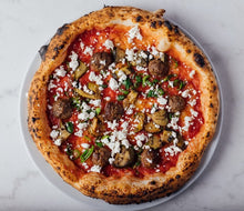 Load image into Gallery viewer, Gustosa -  San Marzano tomato, lamb meatballs, padron green peppers, courgettes, feta, olive oil