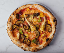 Load image into Gallery viewer, Ortolana -  San Marzano tomato, vegan cheese, artichokes, peppers, red onions, courgettes, aubergine, oregano, olive oil  VE