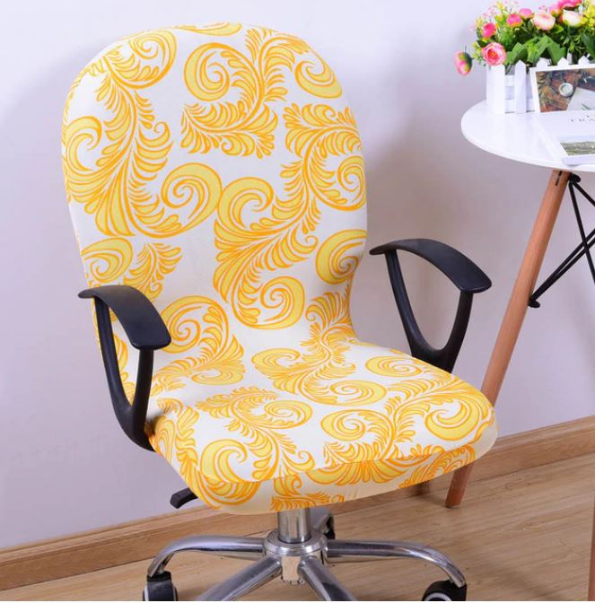 Stretchable Removable Computer Chair Cover - Yellow