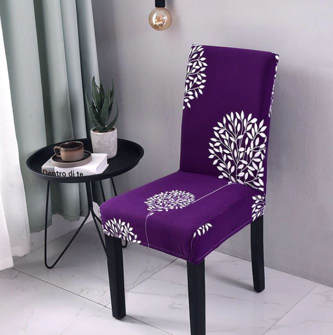 Pétion-Ville Spandex Dining Room Chair Covers - Purple (4)