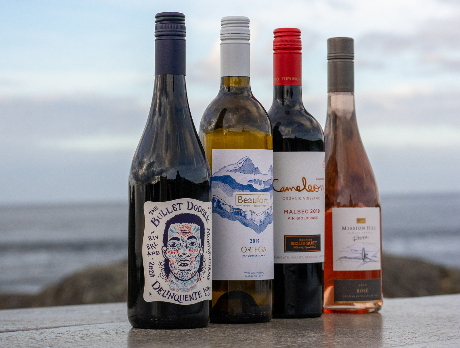 Picture of our four favourite organic wines