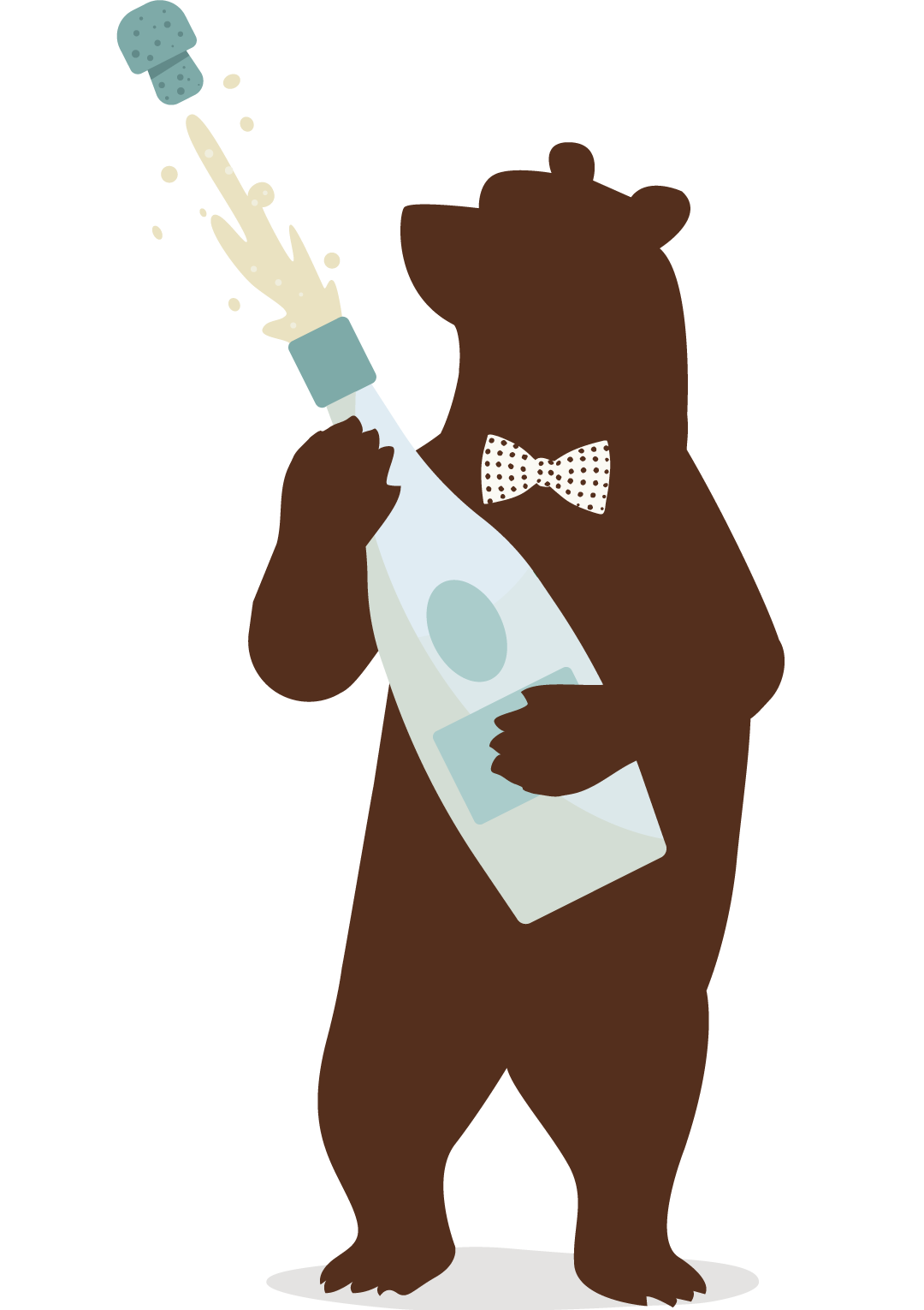 Bear popping a magnum bottle of champagne