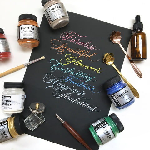 Colour Ink Calligraphy (dip pen)