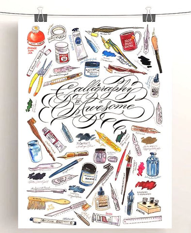 Calligraphy Is Awesome - Art Print by Schin Loong
