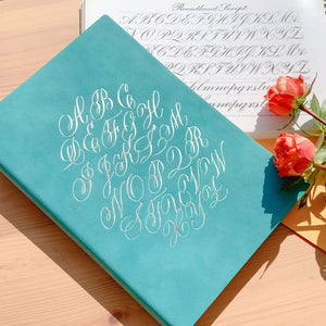 Alphabet Notebook - A5, Turquoise with Silver Foil