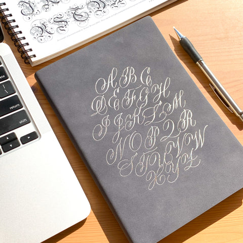 Alphabet Notebook - A5, Grey with Silver Foil