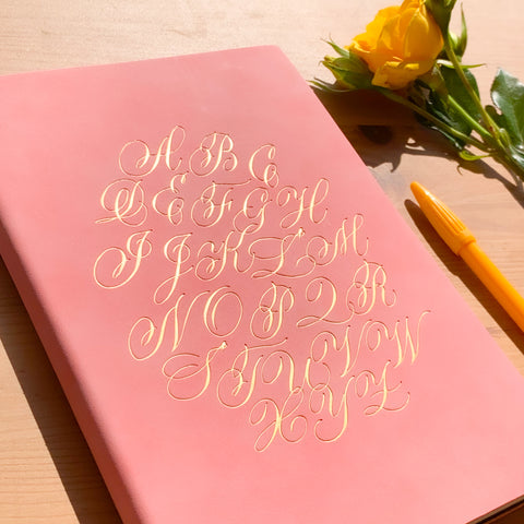 Alphabet Notebook - A5, Pink with Gold Foil