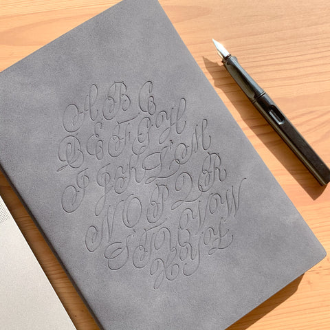 Alphabet Notebook - A5, Grey with Blind Emboss