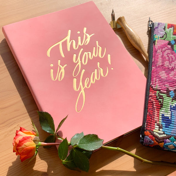 This is Your Year! Notebook - A5, Pink with Gold Foil