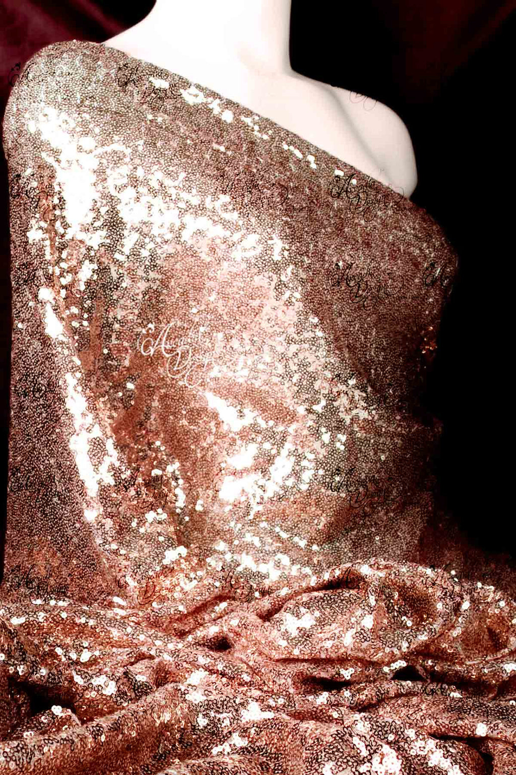 Arcadia Designs Matte Rose Gold Sequin Fabric Matt Rose Gold Gloss