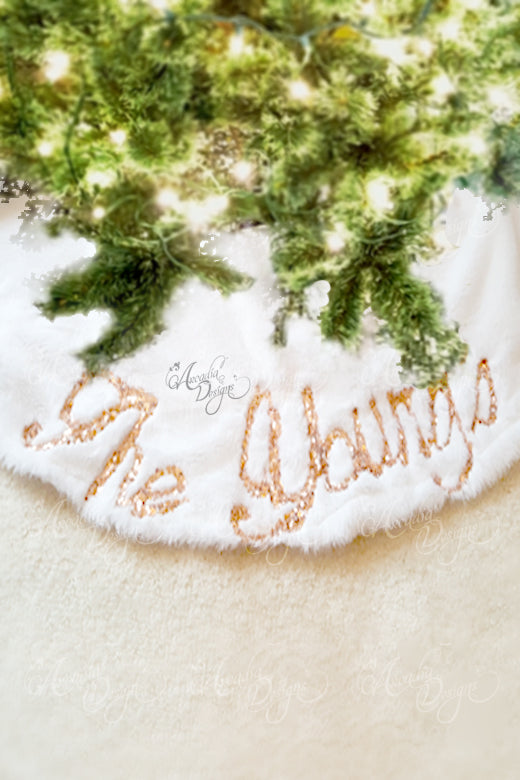 Arcadia Designs Sequin embroidery personalized Snow White Faux Fur Christmas Tree Skirt made in USA