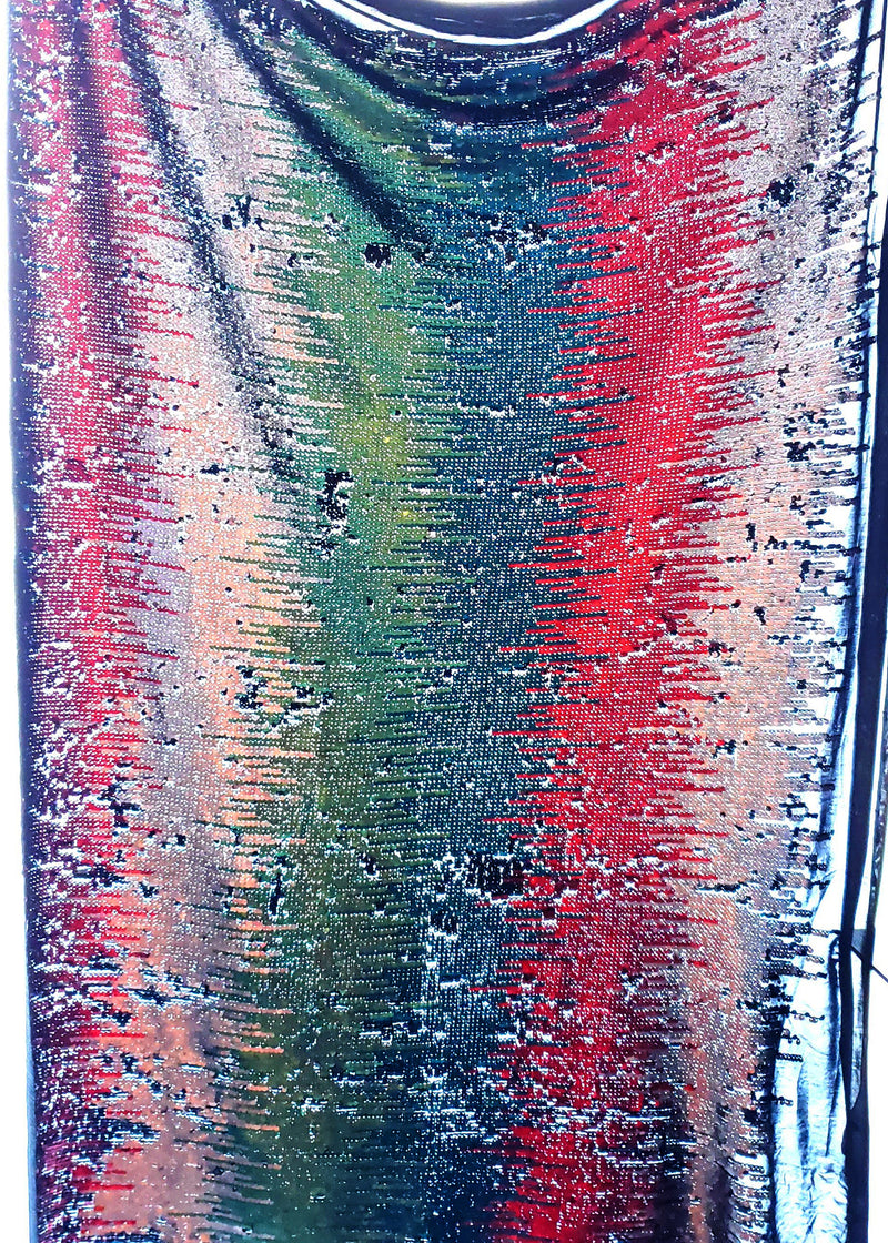 Green blue red silver Multi Color Reversible Sequin Fabric Arcadia Designs