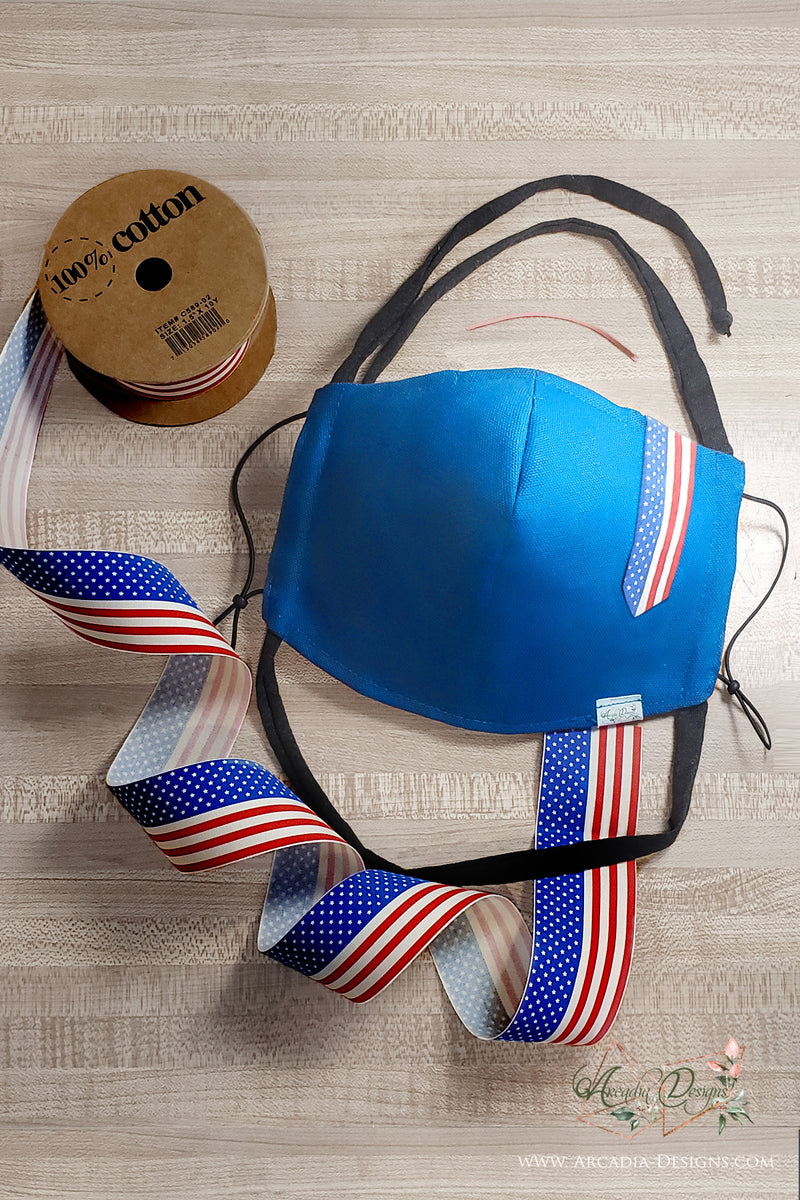 Patriotic blue Face Mask with American flag 100% Cotton Ribbon Face cover for July 4th Arcadia Designs