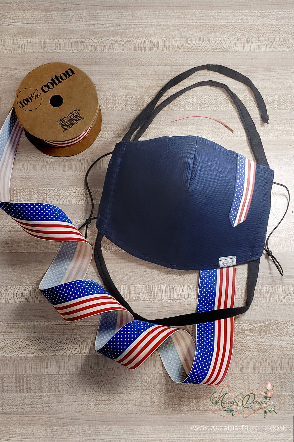 Patriotic Face Mask with American flag 100% Cotton Ribbon Face cover for July 4th Arcadia Designs