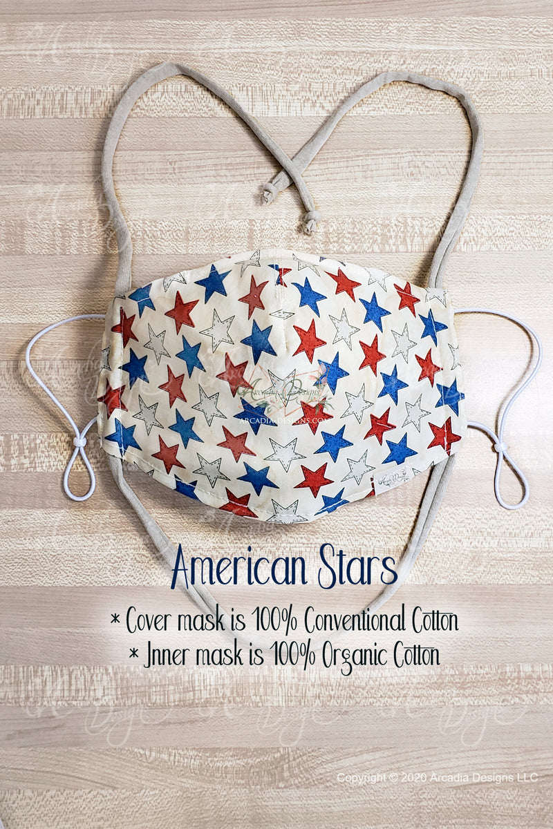 american star GOTS certified Organic Cotton cloth face mask with nose wire head tie by Arcadia Designs LLC handmade made in USA