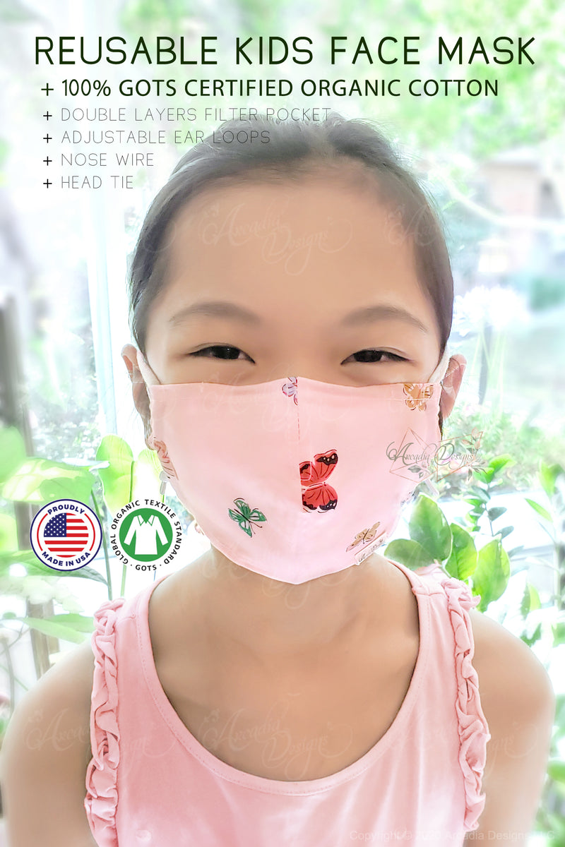 GOTS certified Organic Cotton cloth face mask with nose wire head tie by Arcadia Designs LLC handmade made in USA