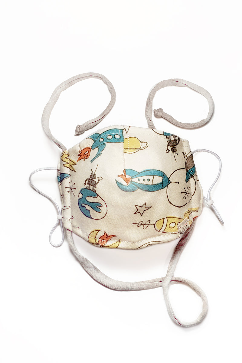 rocketship organic cotton filter pocket face mask for boys by arcadia designs llc