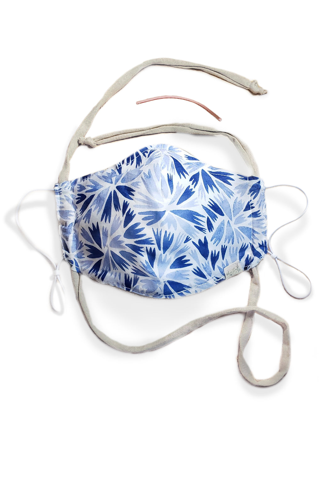 blue petal cornflower breathable GOTS certified Organic Cotton cloth face mask with nose wire head tie by Arcadia Designs LLC handmade  made in USA