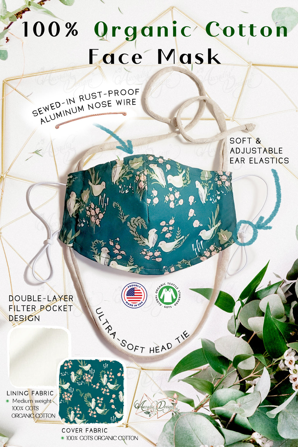 Turquoise bird and flower wild animal print 3D cup shape filter pocket double layer GOTS certified Organic Cotton cloth face mask with nose wire head tie by Arcadia Designs LLC handmade  made in USA