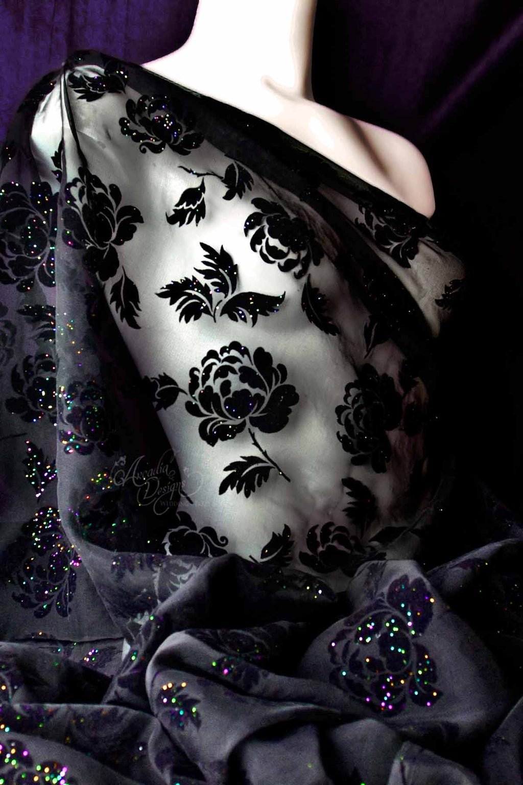 Arcadia Designs Black Peony Flocked Burnout Glittered Tulle Fabric