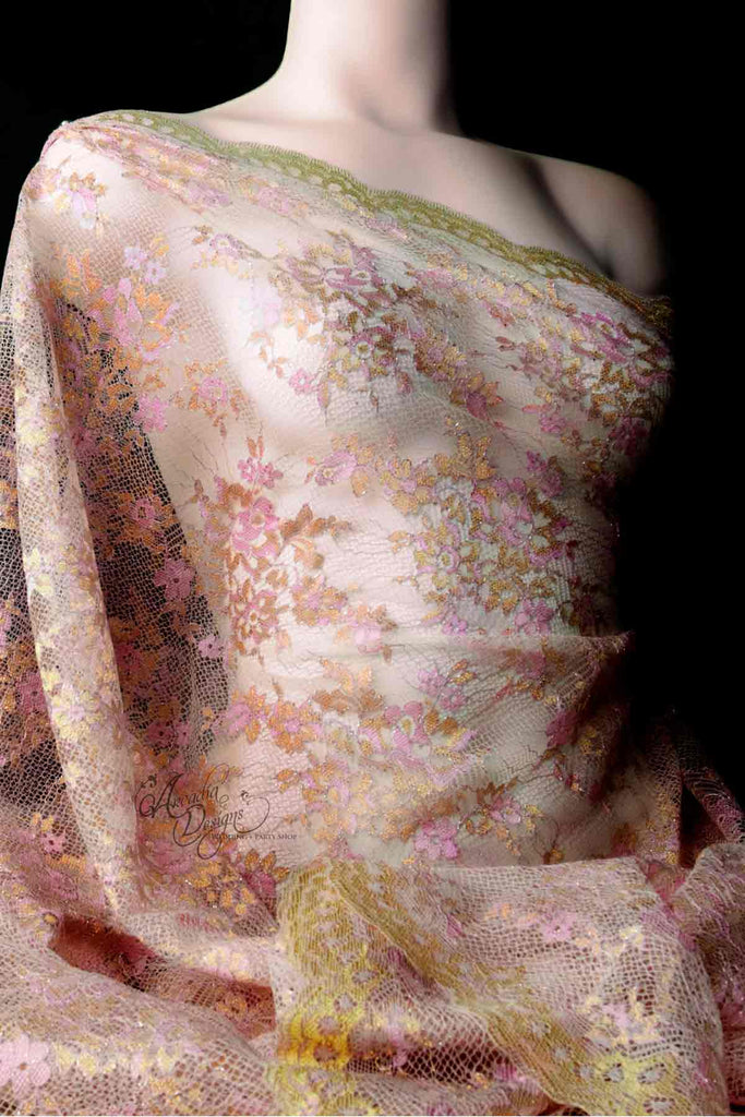 Arcadia Designs Rose Pink Metallic Chantilly French Lace Fabric
