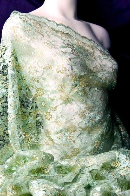 Mint and Metallic Gold Chantilly French Lace Fabric