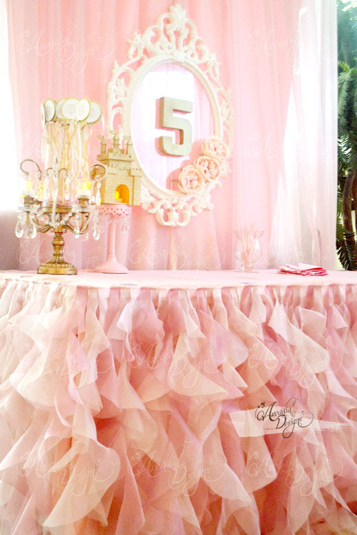 arcadia designs Pinkalicious Princess Pink Curly Tutu Cake Table Skirt