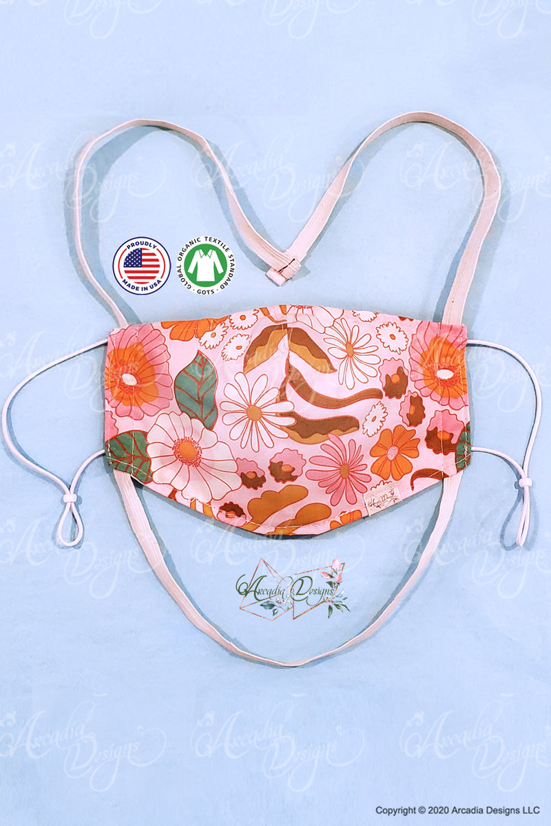 pink flower blossom GOTS certified Organic Cotton cloth face mask with nose wire head tie by Arcadia Designs LLC handmade made in USA.
