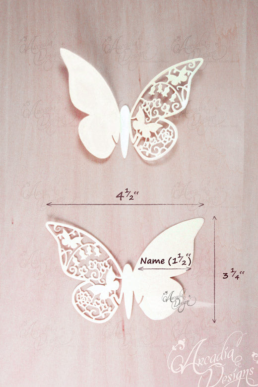 arcadia designs Butterfly Silhouette Wine Glass Place Card