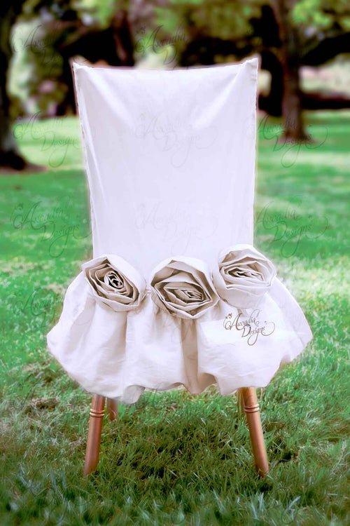 Natural White Rose Folding Chair Slipcover