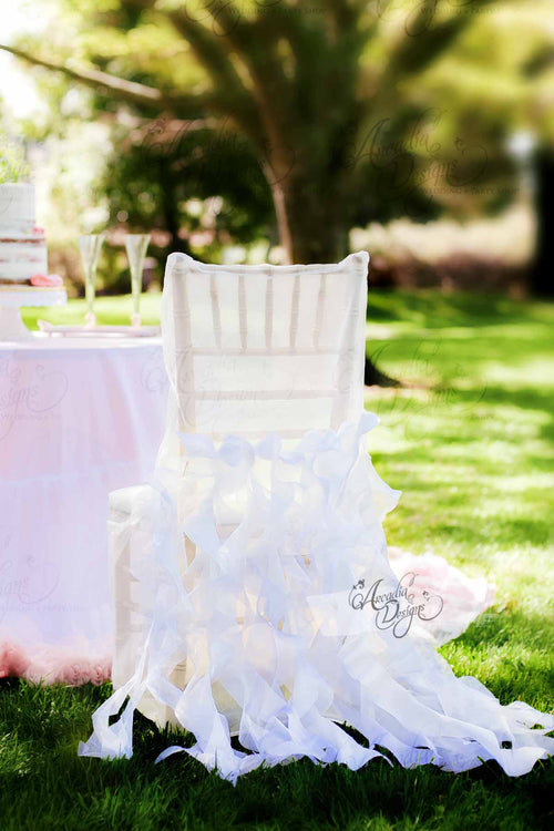 Snow White Curly Willow Bridal Chair Cover