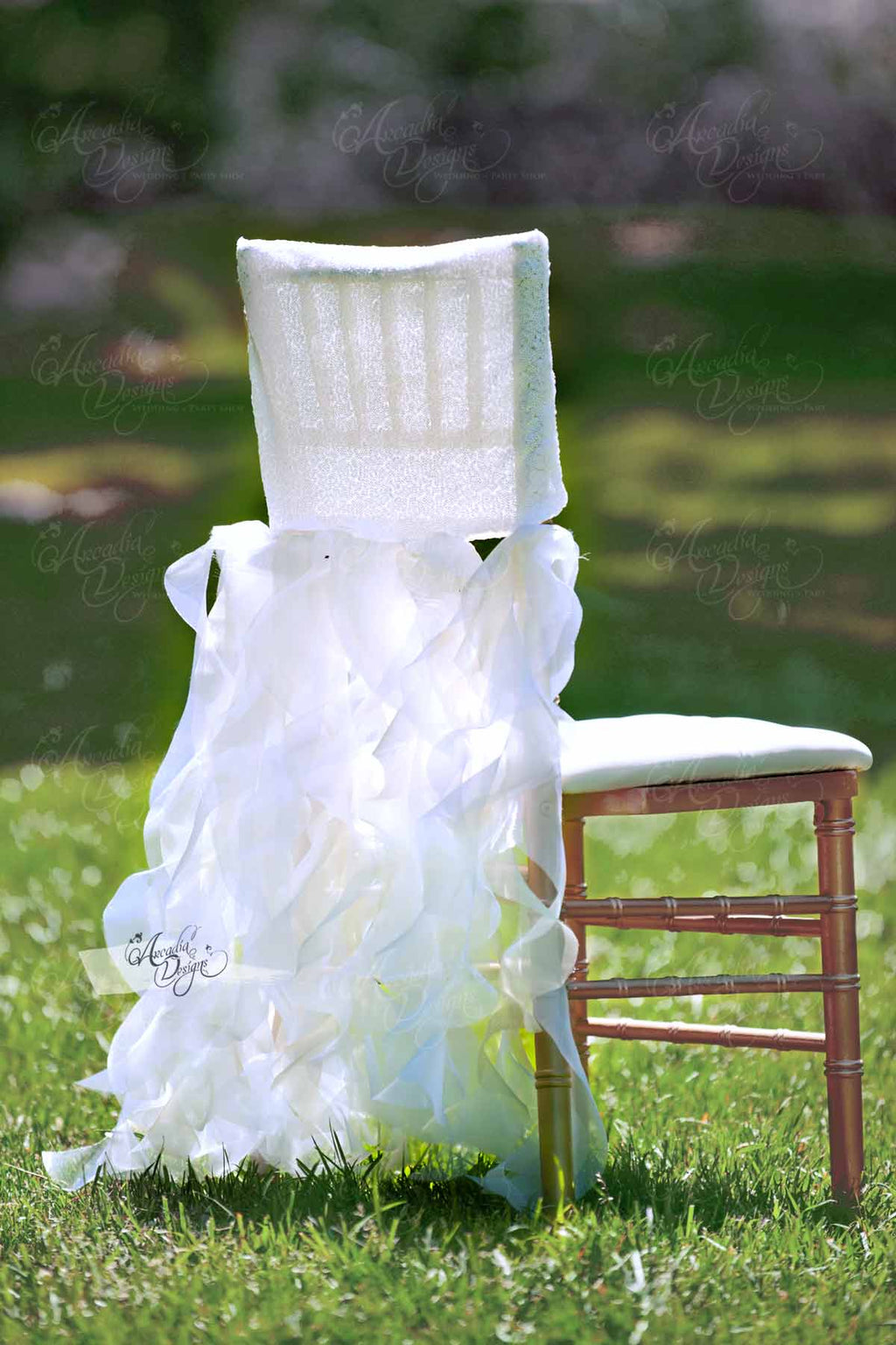 Arcadia Designs Shimmer White Curly Willow Sequin Chair Cover