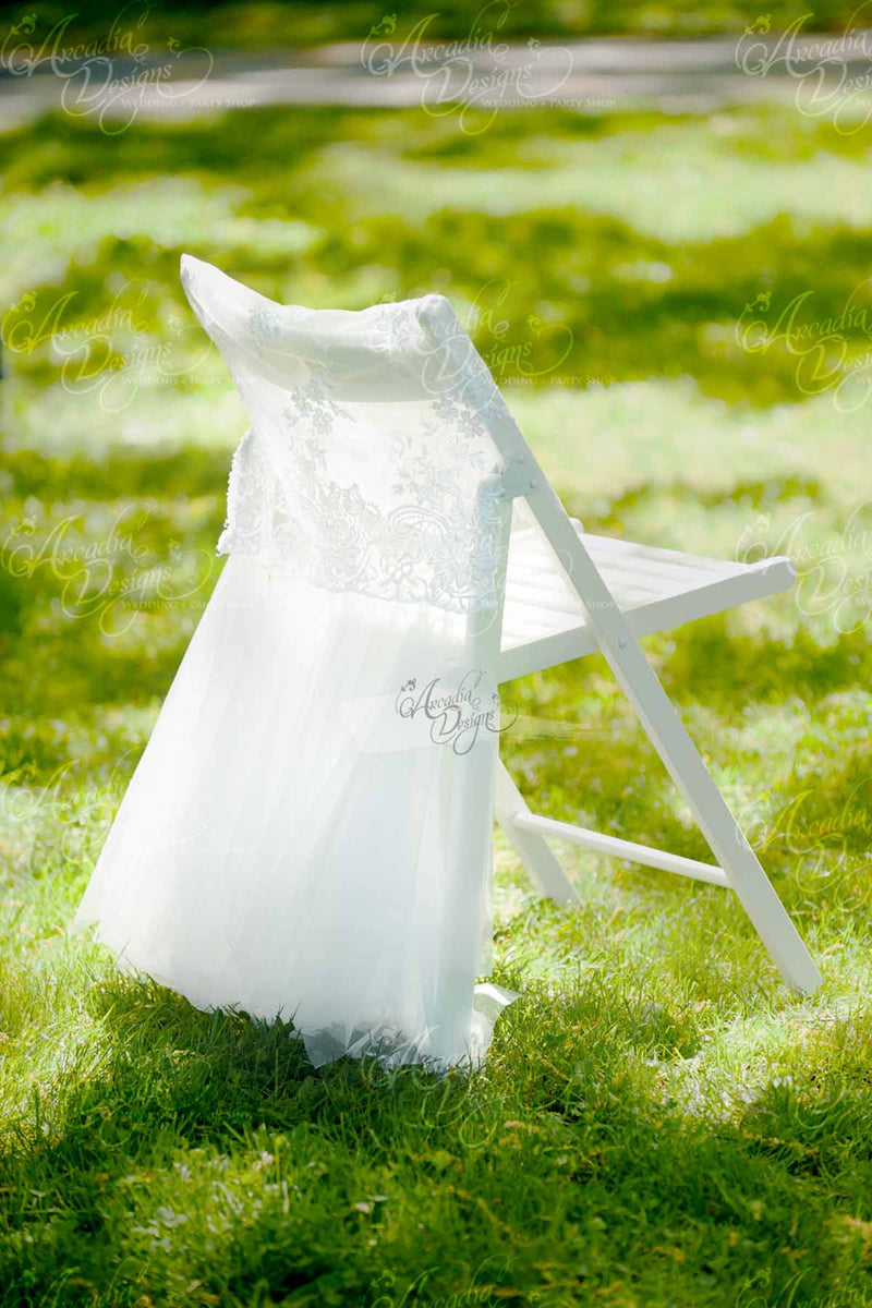 Arcadia Designs Wedding decoration Bridal Shower Luxury Folding Lace Tutu Tulle Chair Cover Slipcover