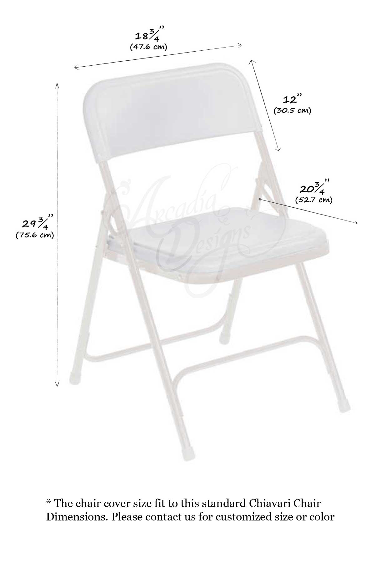 Arcadia Designs Lace Chair Cover with Chiffon Drape Chiavari Chair Folding Chair