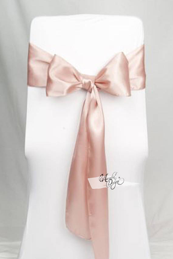 arcadia designs Blush Rose Gold Premium Shimmery Satin Chair Sash