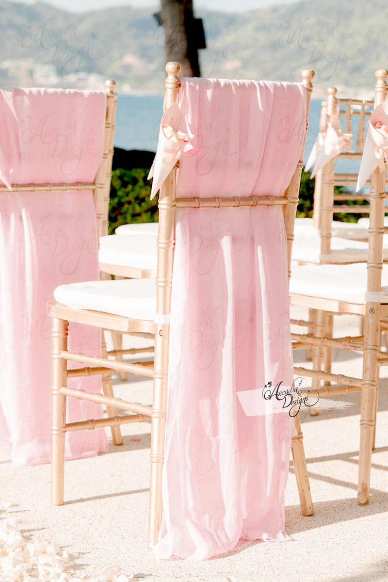 Arcadia Designs Sheer White Chiffon Drape Chair Sash Blush Pink