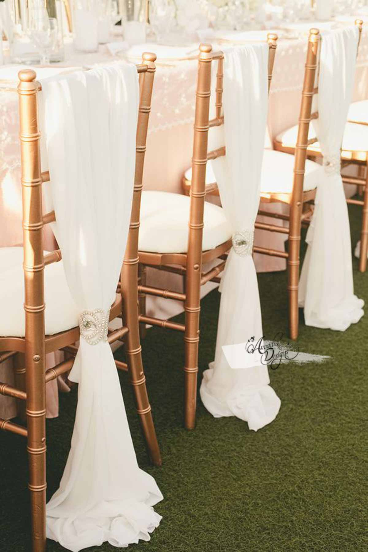 Arcadia Designs White Chiffon Chair Sash & Rhinestone Band Ivory