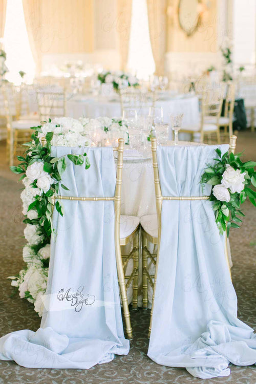 Ice Blue Chiffon Drape Chair Sash