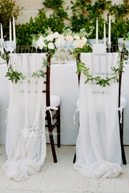 Chiffon White Puddling Floor Drape Chair Sash