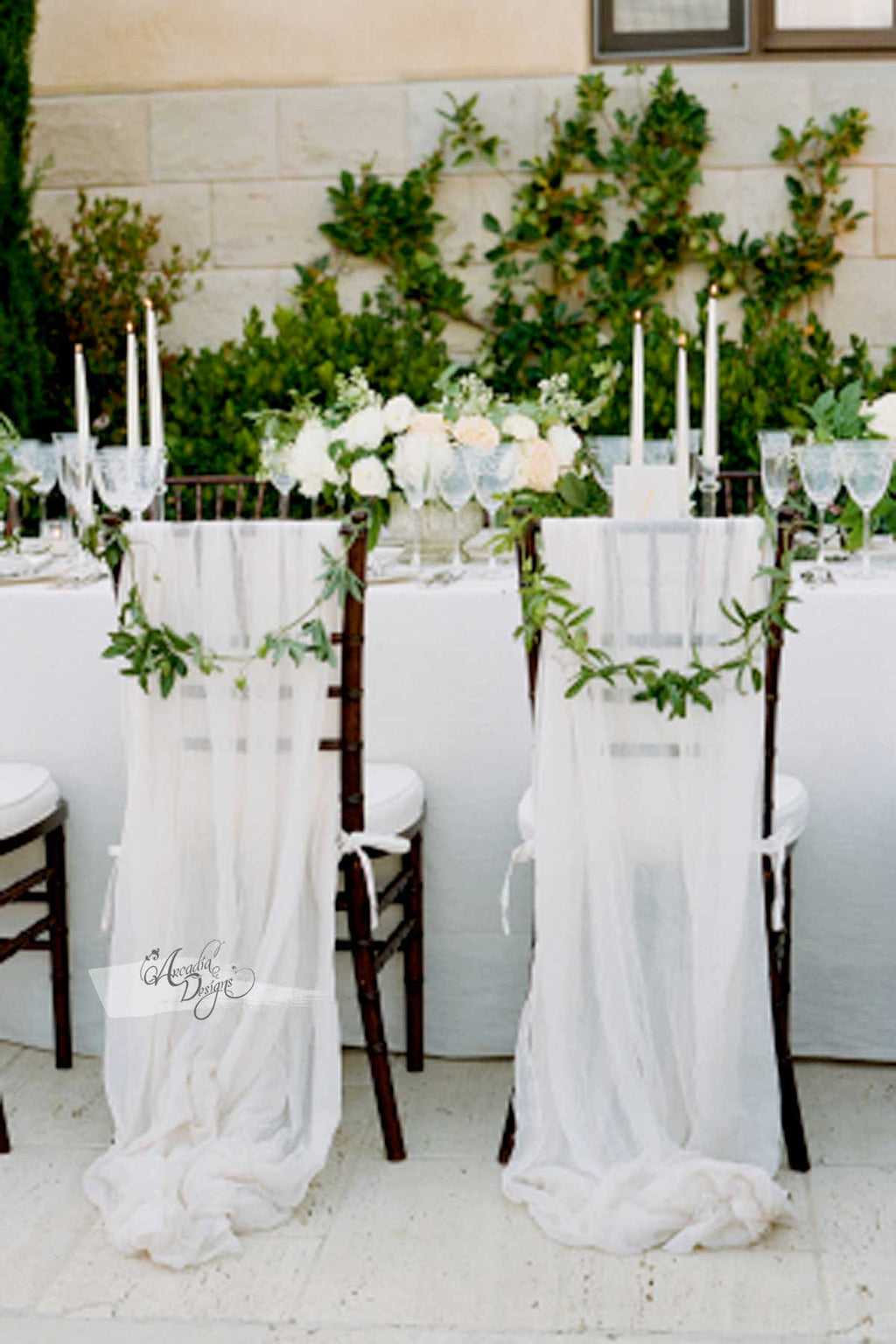 Braided Natural White Chiffon Chair Sash