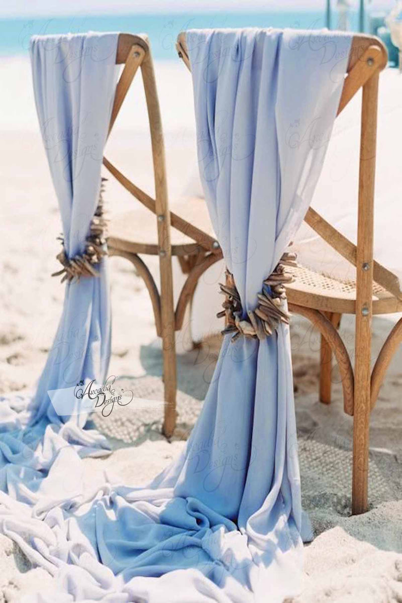 Arcadia Designs Ice Blue Chiffon Drape Chair Sash Sky Blue