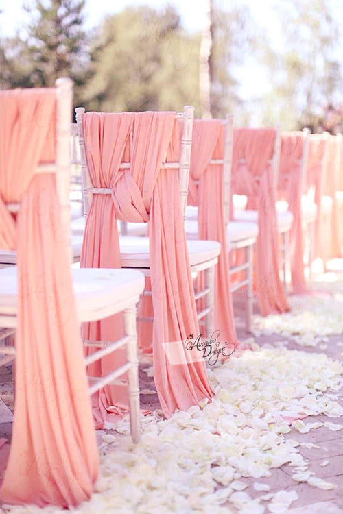 Light Pink Chiffon Chair Sash