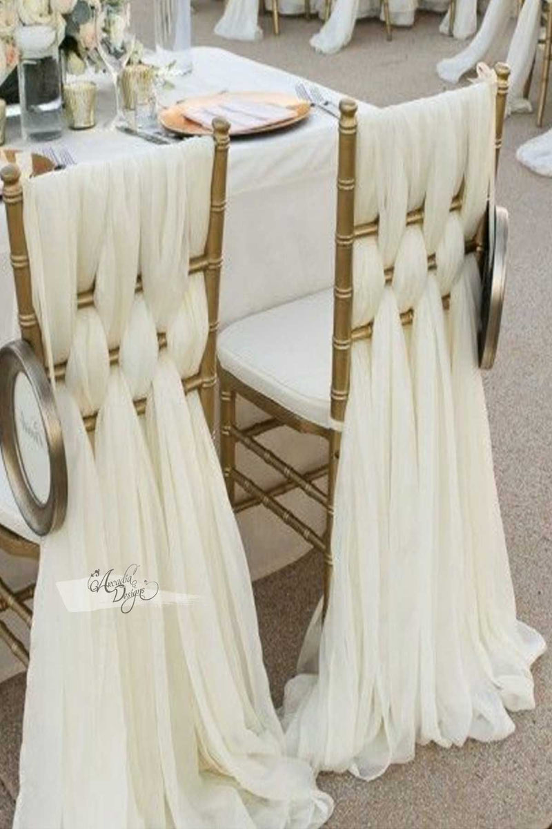 Arcadia Designs Braided Blush Pink Chiffon Chair Sash Natural White