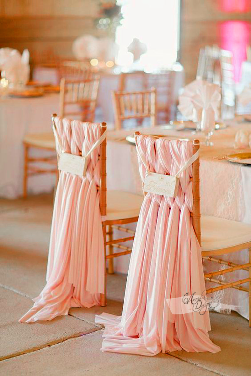 Braided Blush Pink Chiffon Chair Sash