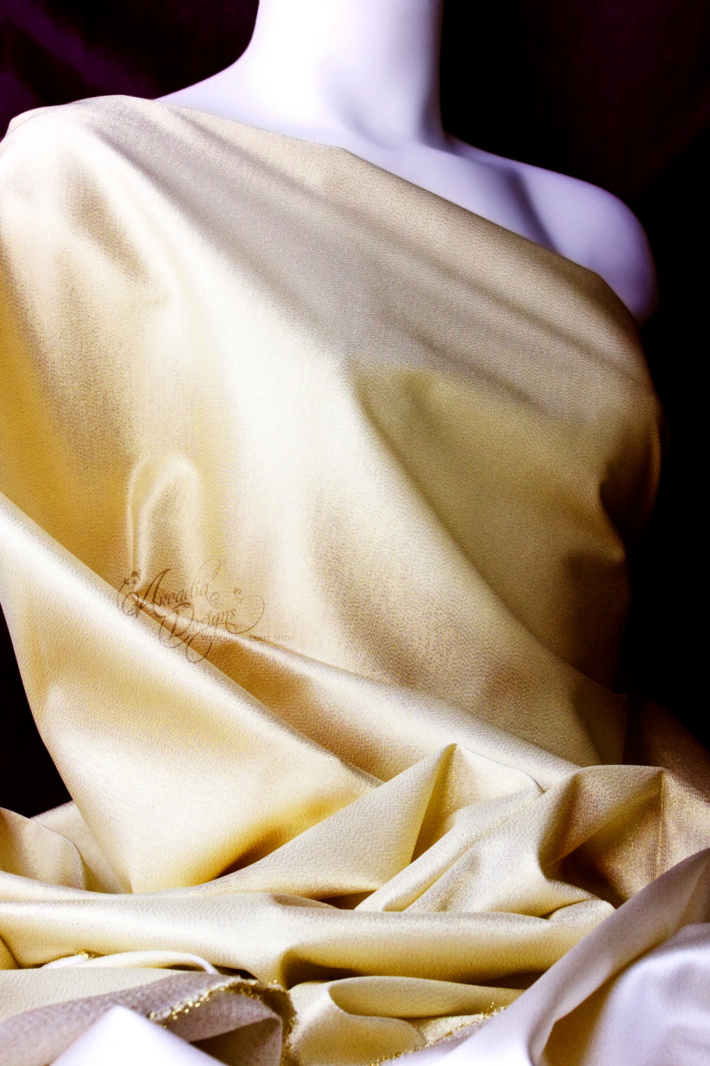 Arcadia Designs Light Gold Rayon Shimmer 2 Tone Fabric