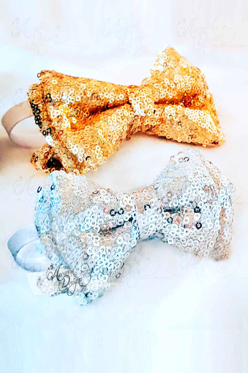 Arcadia Designs Bright Gold Sequin Bow Tie Sliver Rose Gold