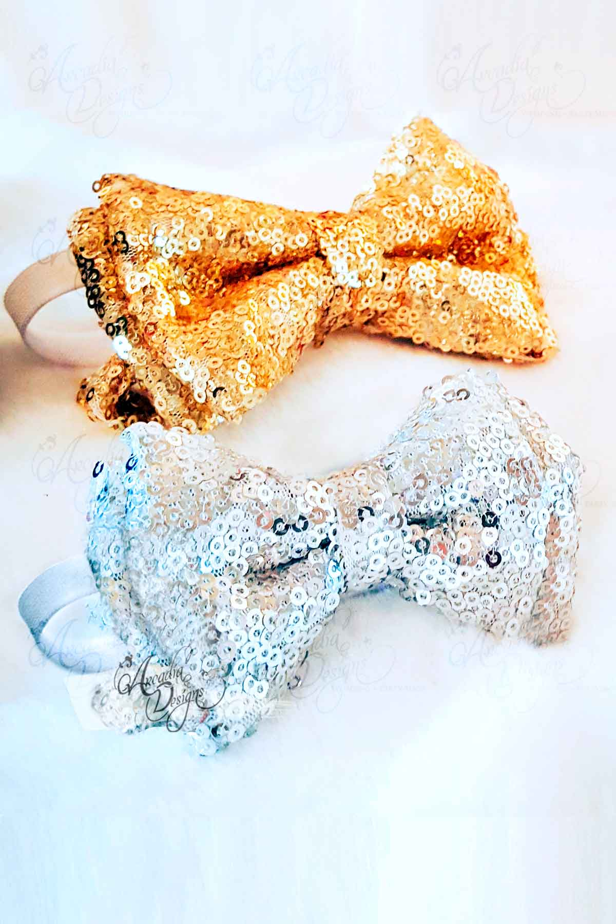 Arcadia Designs Silver Sequin Bow Tie